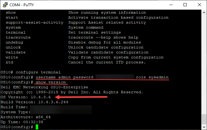 Changing admin password and showing the switch os version