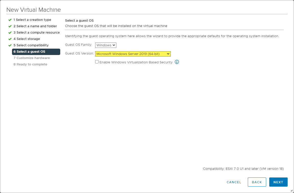 Choosing windows server 2019 as the operating system version for the install of windows server 2022