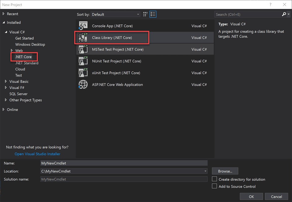 Create a new class library for .net core