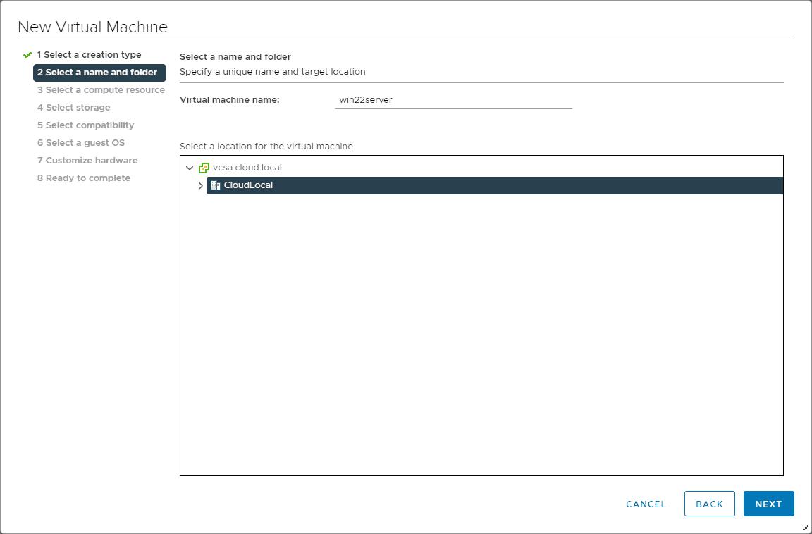 Creating a new vmware virtual machine for testing windows server 2022