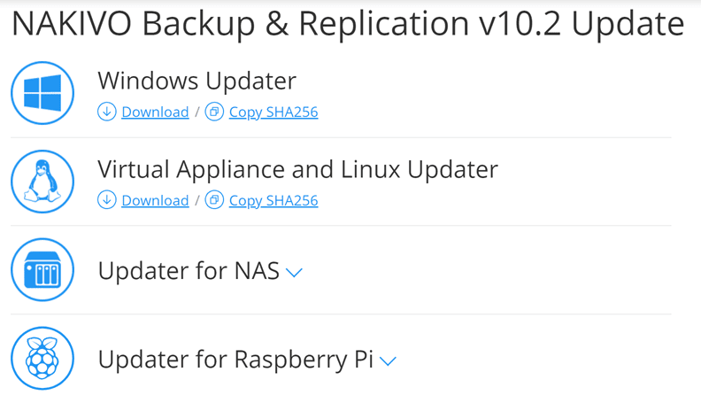 Downloading the nakivo backup and replication v10.2 update
