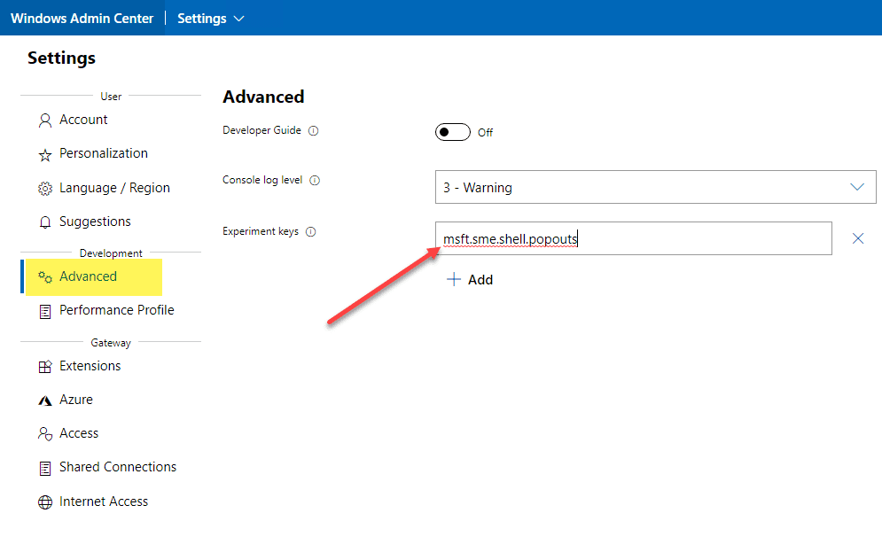 Enabling the new secret feature pop out function
