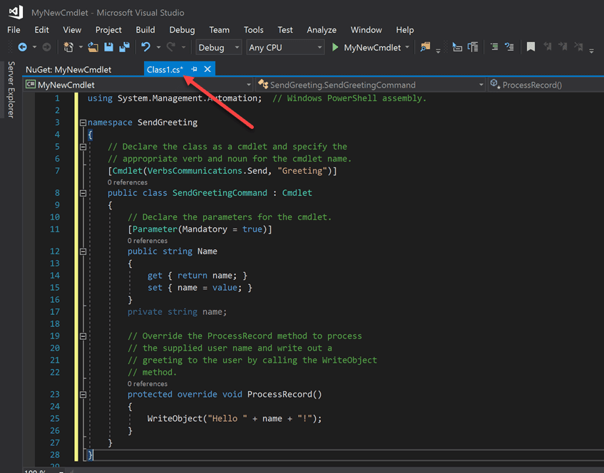 Paste in sample code into the class1.cs file