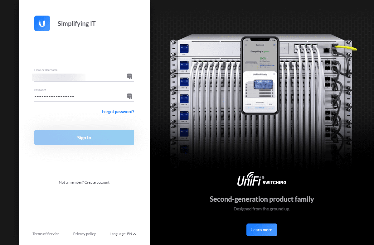 Sign into your ubiquiti account to verify your new password and 2fa
