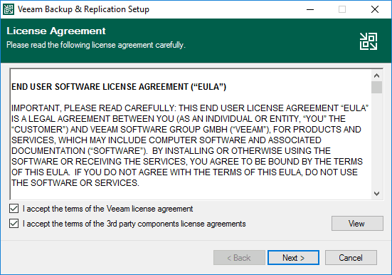 Accept the eula for veeam backup and replication v11