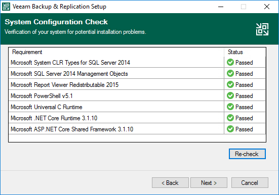 After installling the missing components for veeam backup and replication v11