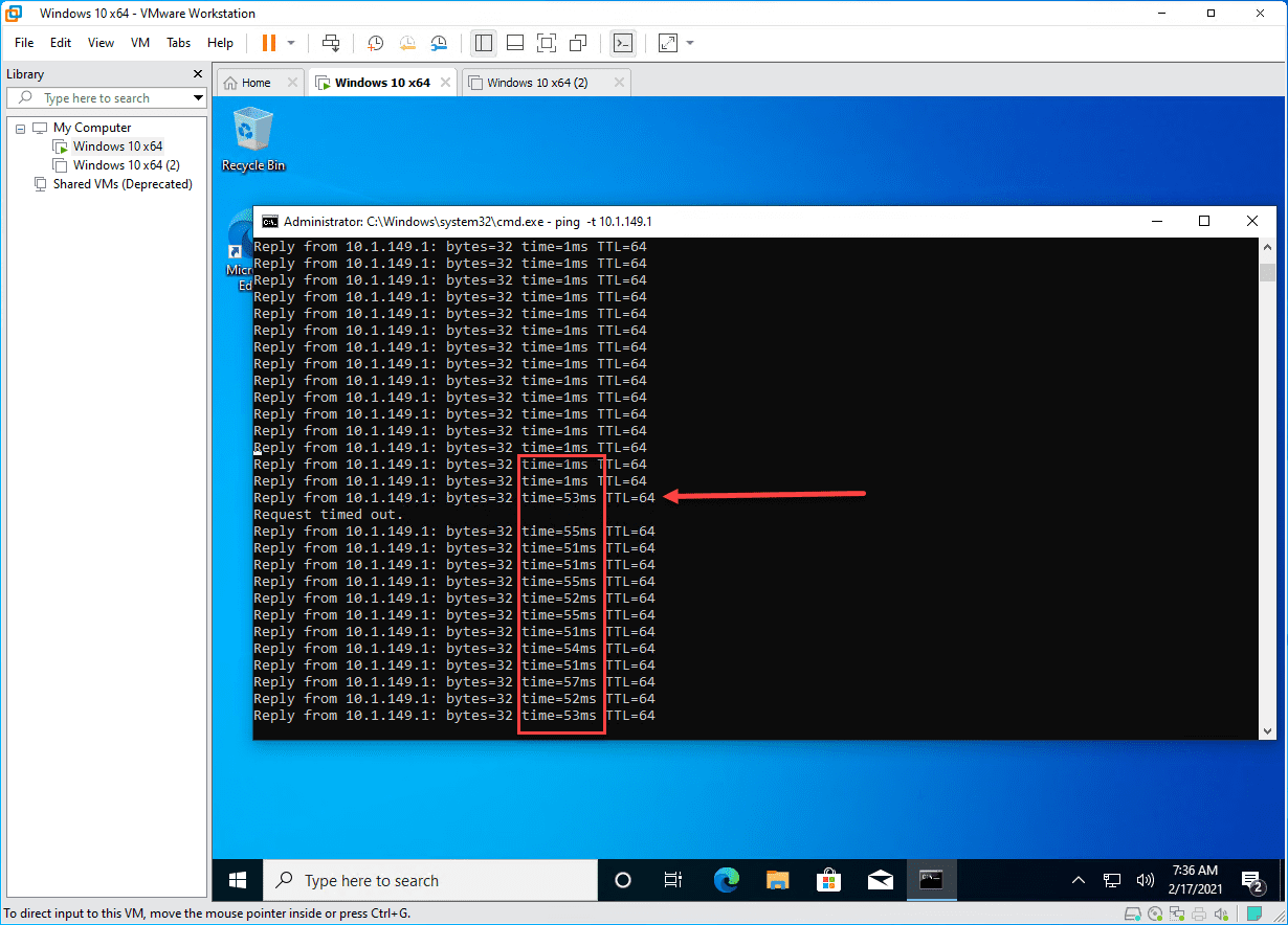 After introducing latency and packet loss with vmware workstation pro