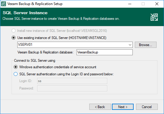 Choose the sql server instance for your veeam backup and replication instance