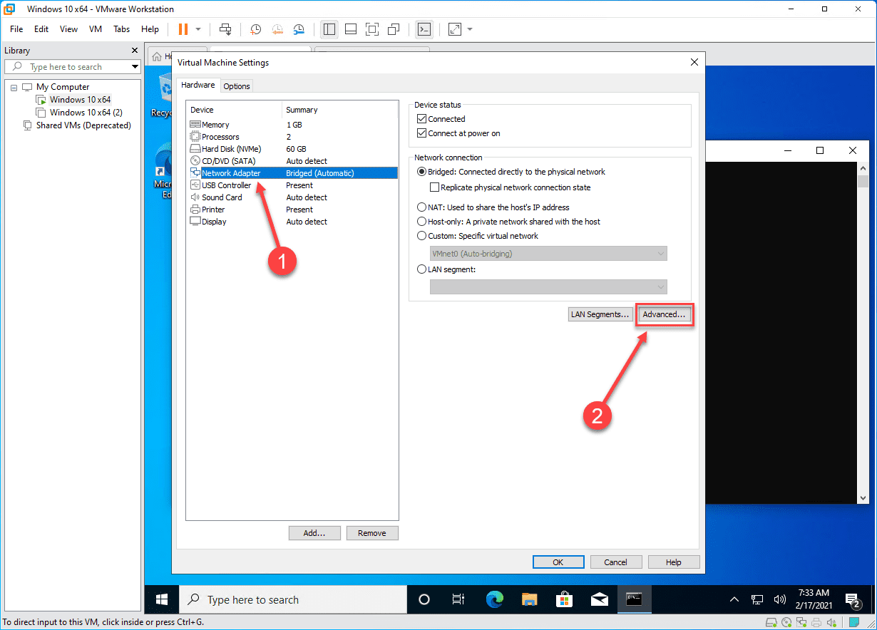 Configuring the advanced network adapter settings for a vm in vmware workstation pro