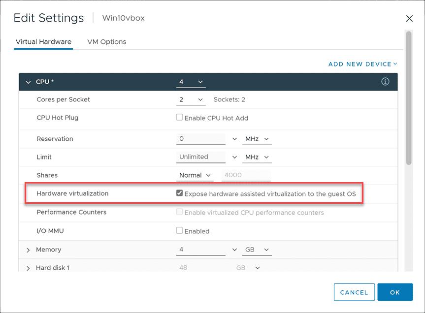 Configuring the hardware virtualization setting for virtualbox nested virtualization inside vmware esxi