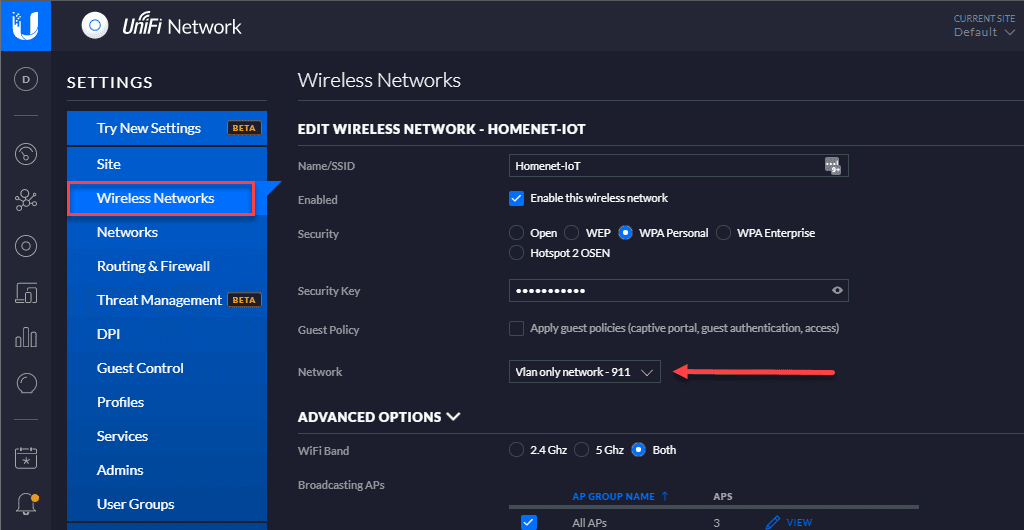 Connecting the unifi network to the wireless network