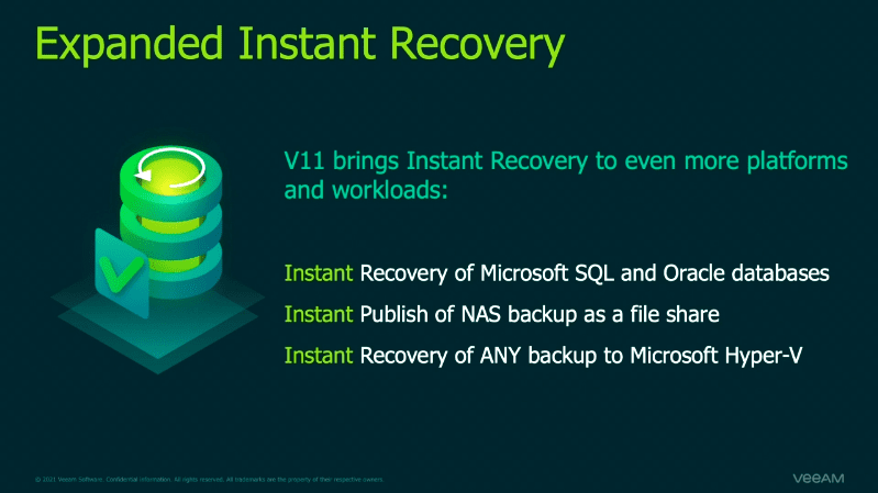 Expanded instant recovery in veeam version 11