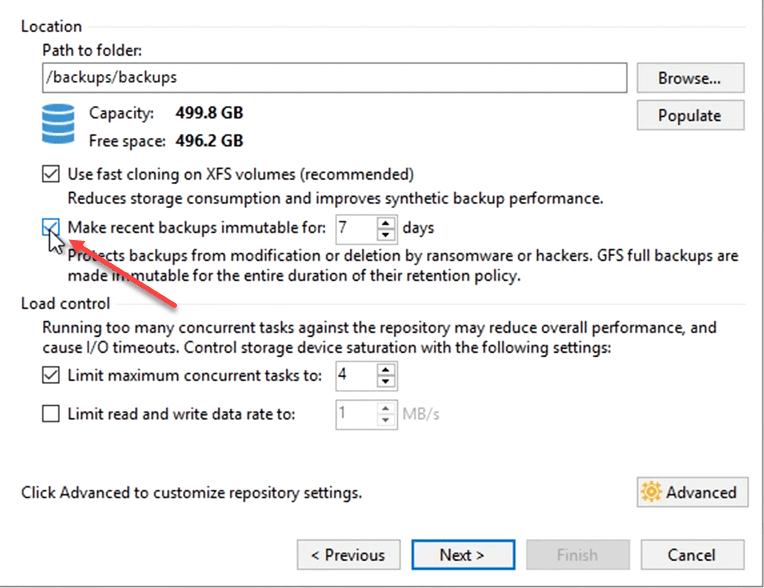 Making backups immutable on the hardened linux repository
