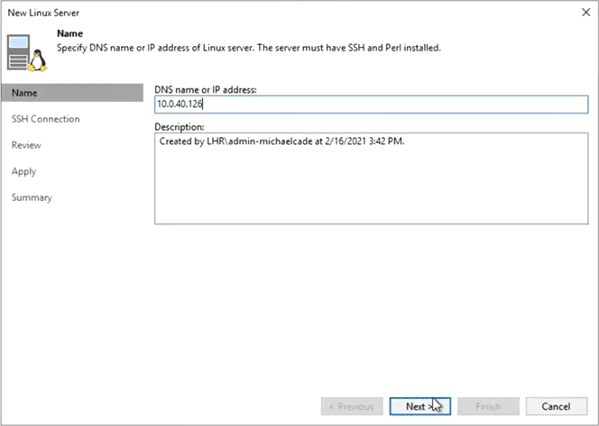Single use credentials used to attach to the hardened veeam repository