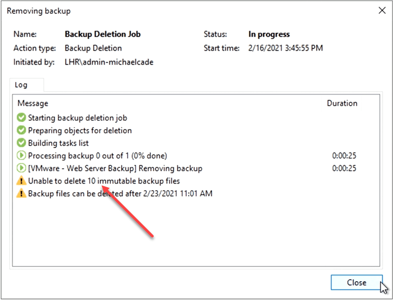 Unable to delete immutable backups in veeam version 11