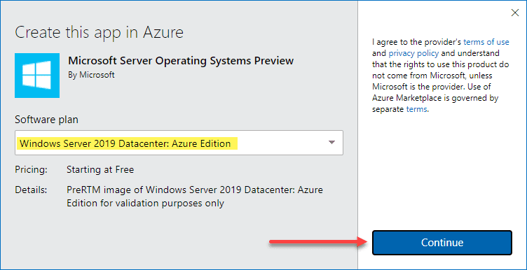 Activating the preview of windows server 2019 datacenter azure edition
