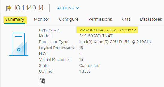 After remediation the host correctly displays the vsphere 7 update 2 build version