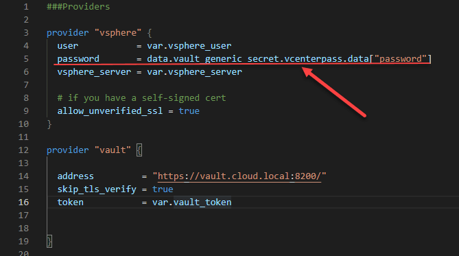 Connecting to vsphere provider using the hashicorp vault vcenter credentials