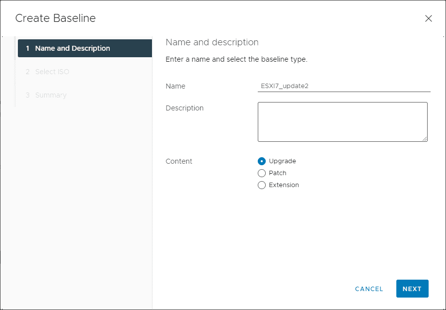 Create a name and description for the upgrade baseline