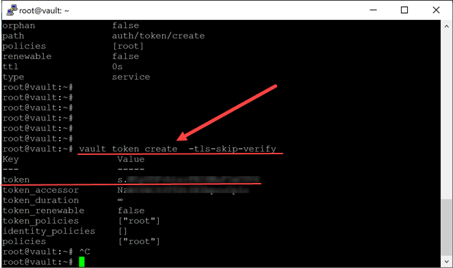Creating a token in hashicorp vault