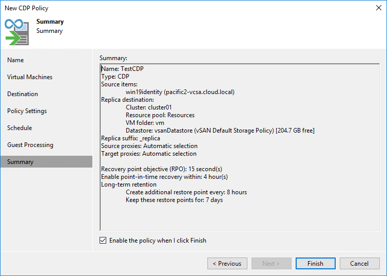 Finish out the new cdp policy in veeam backup and replication v11
