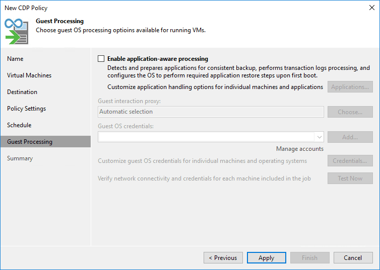 Guest processing settings in the cdp policy in veeam v11