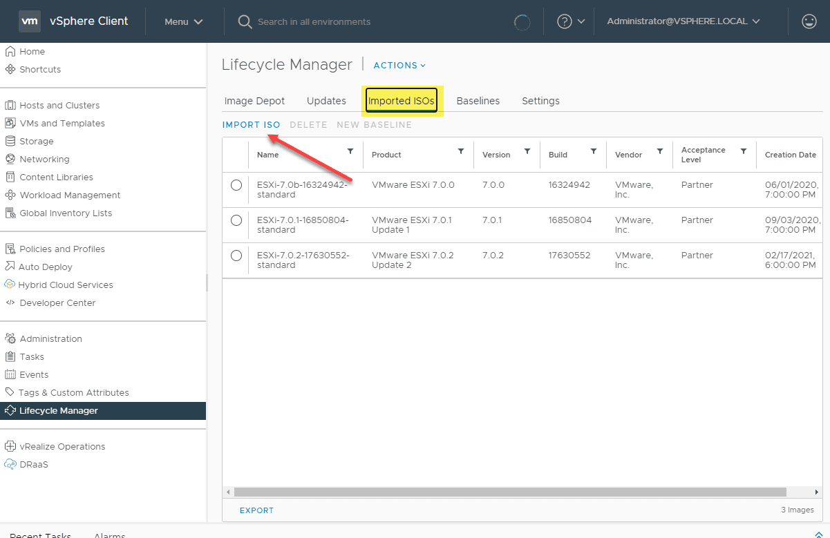 Importing the vsphere 7.0 update 2 esxi iso into vsphere lifecycle manager