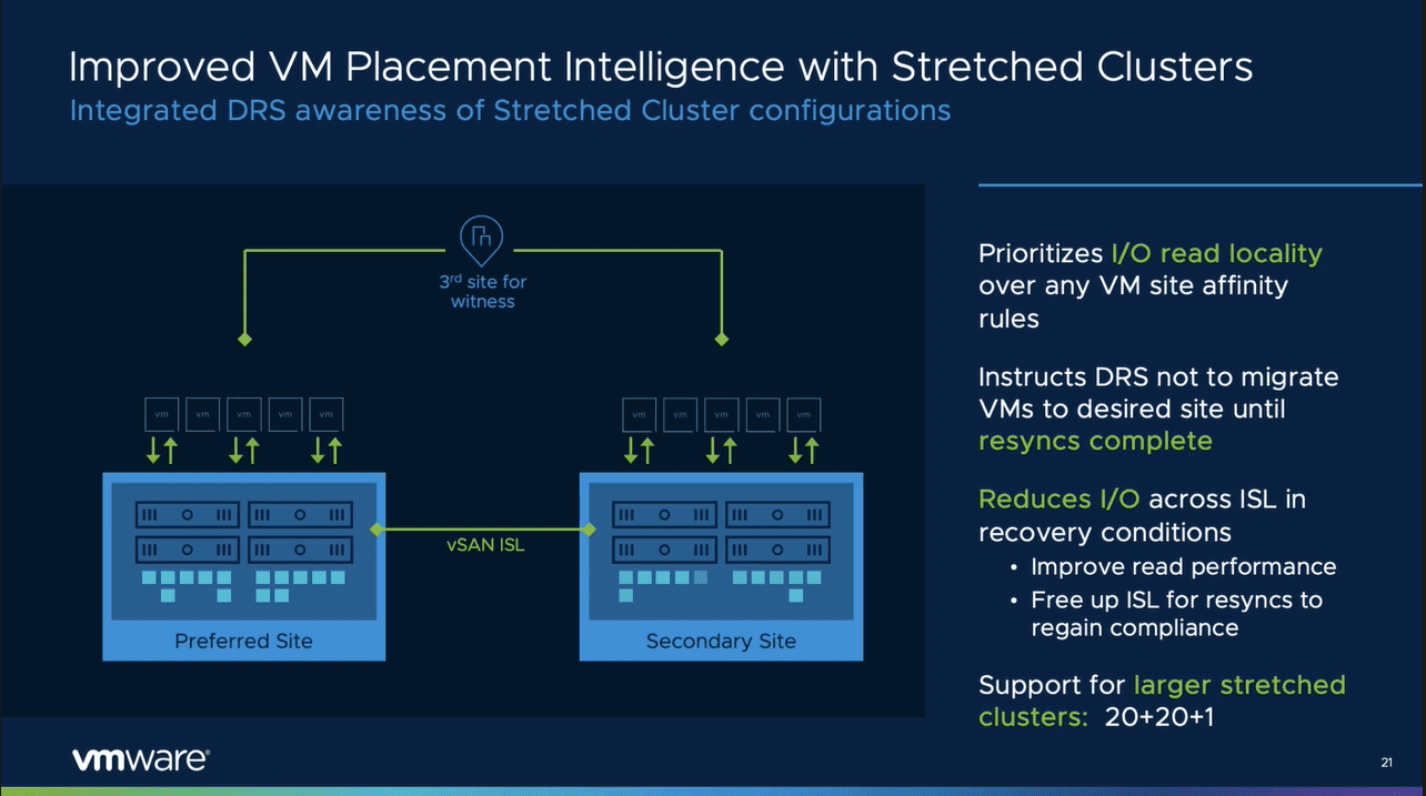 Improved vm placement in stretched clusters