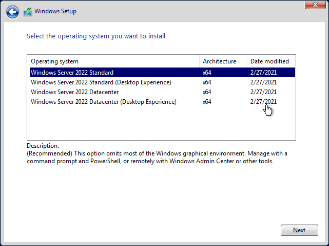 Installing windows server 2022 public preview