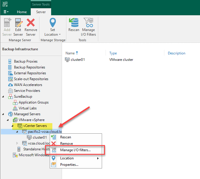Managing cdp io filters for a vmware vsphere cluster in veeam backup and replication v11