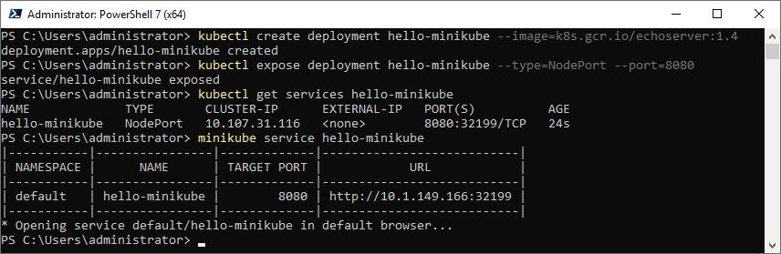 Running kubectl commands to expose application on minikube