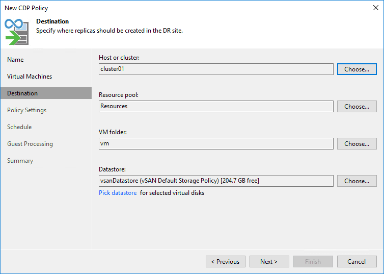 Select the destination for the cdp replication policy in veeam v11