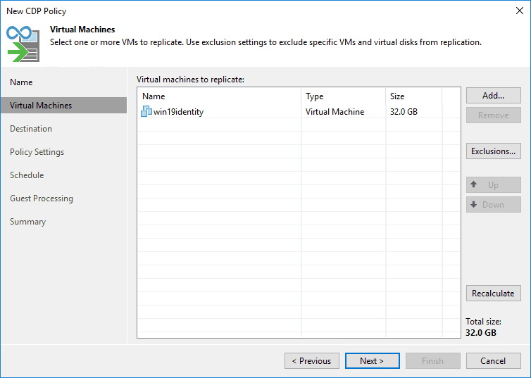 Select the virtual machine contained in the cdp policy