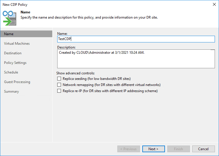 Starting the configuration of the new cdp policy in veeam v11
