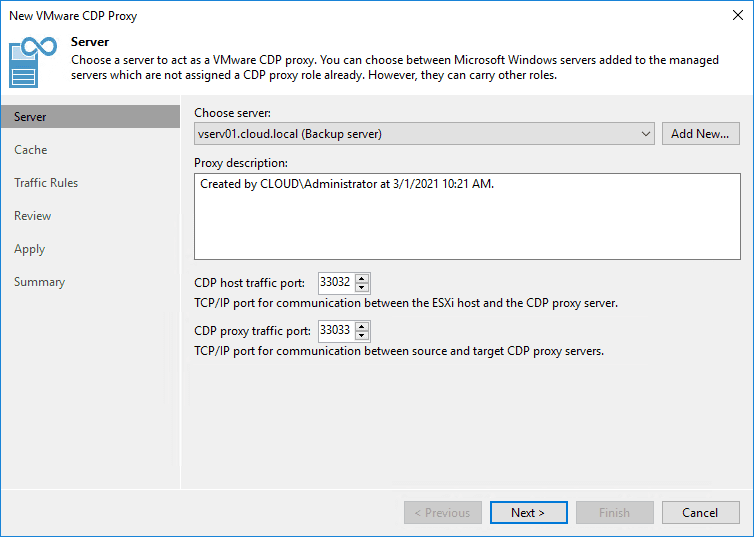 Starting the new vmware cdp proxy wizard in veeam backup and replication v11