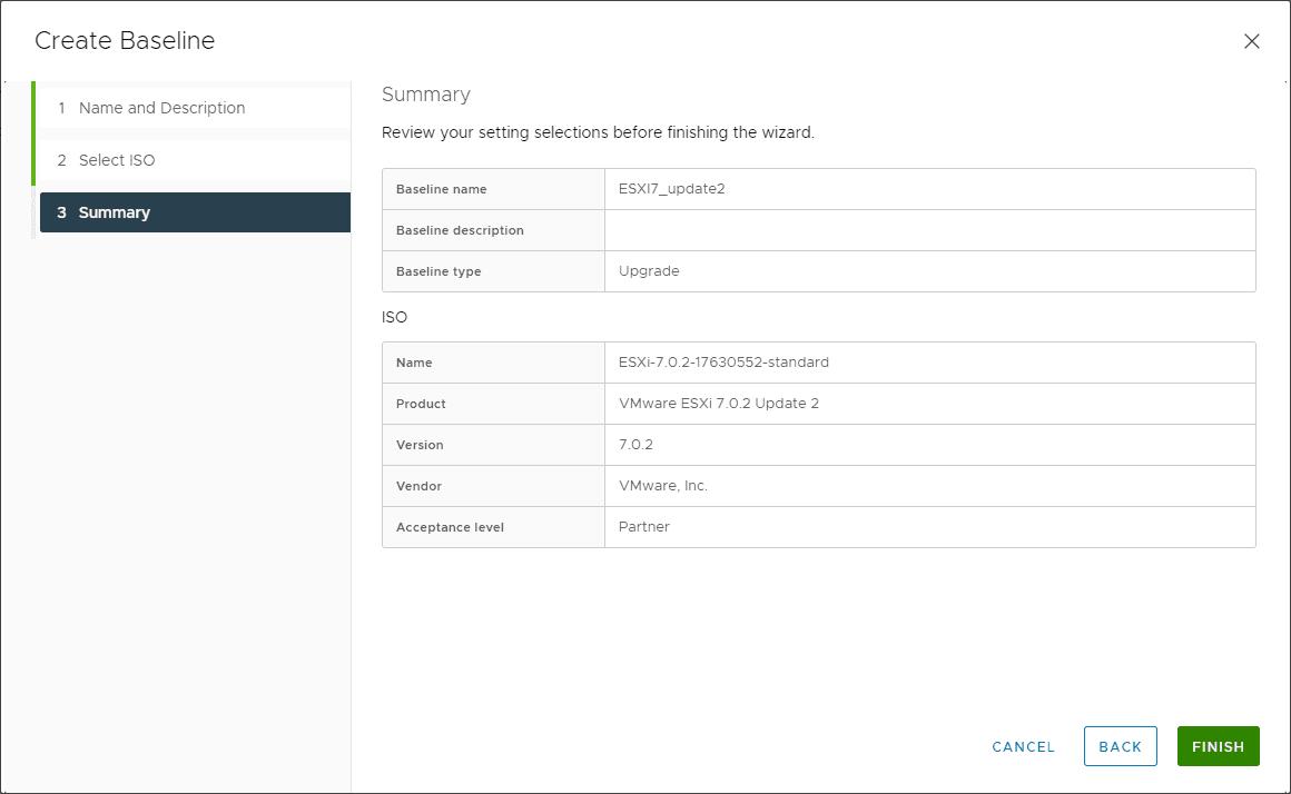 Summary of the new vsphere 7.0 update 2 upgrade baseline