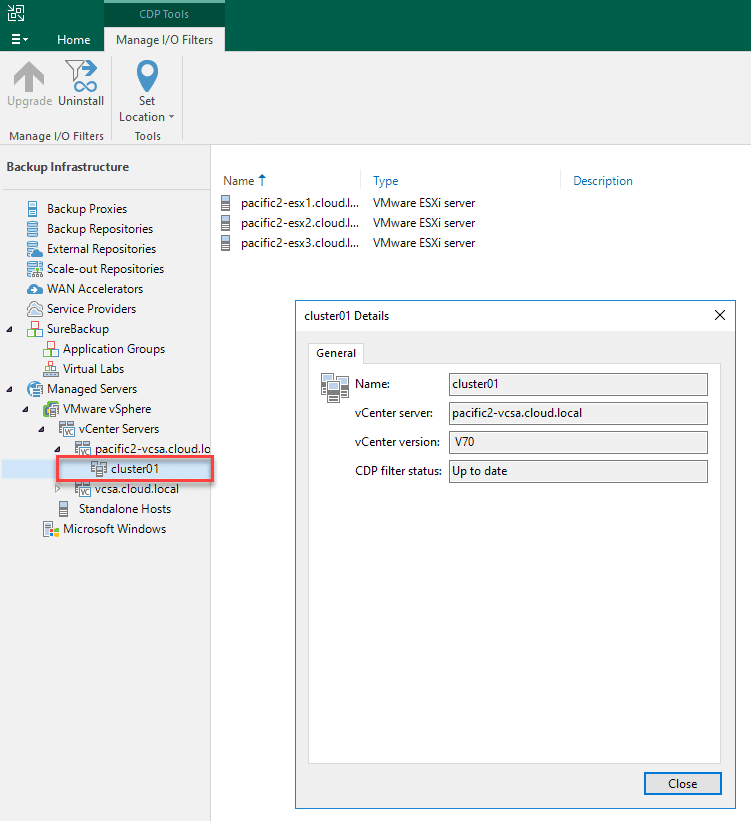 The filter is enabled and showing up to date for the vsphere cluster