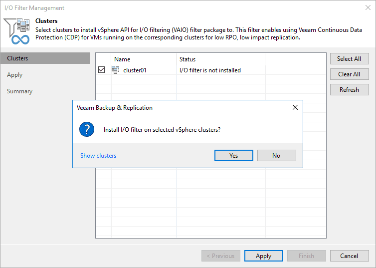 Verify the installation of the io filter on the vsphere cluster
