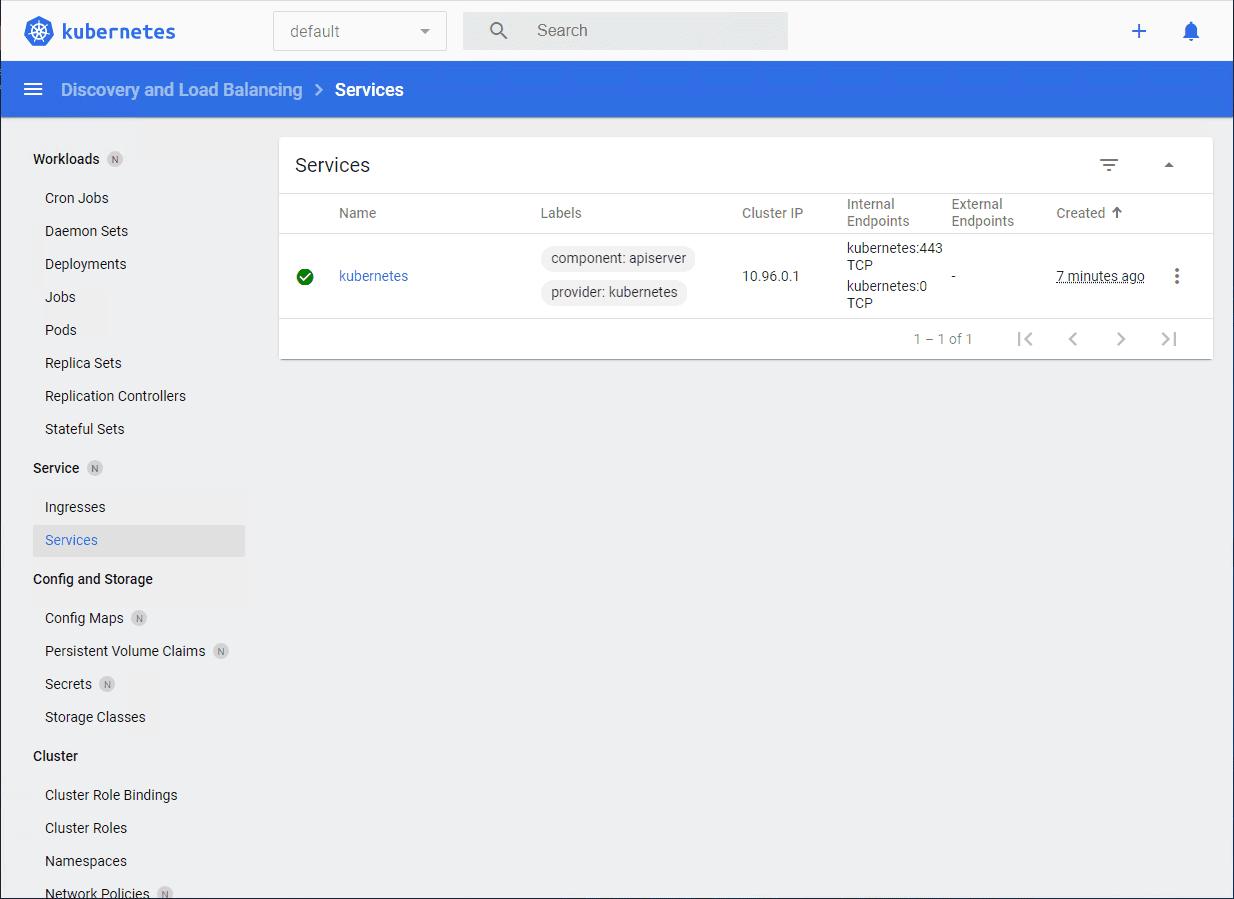Viewing the minikube kubernetes dashboard