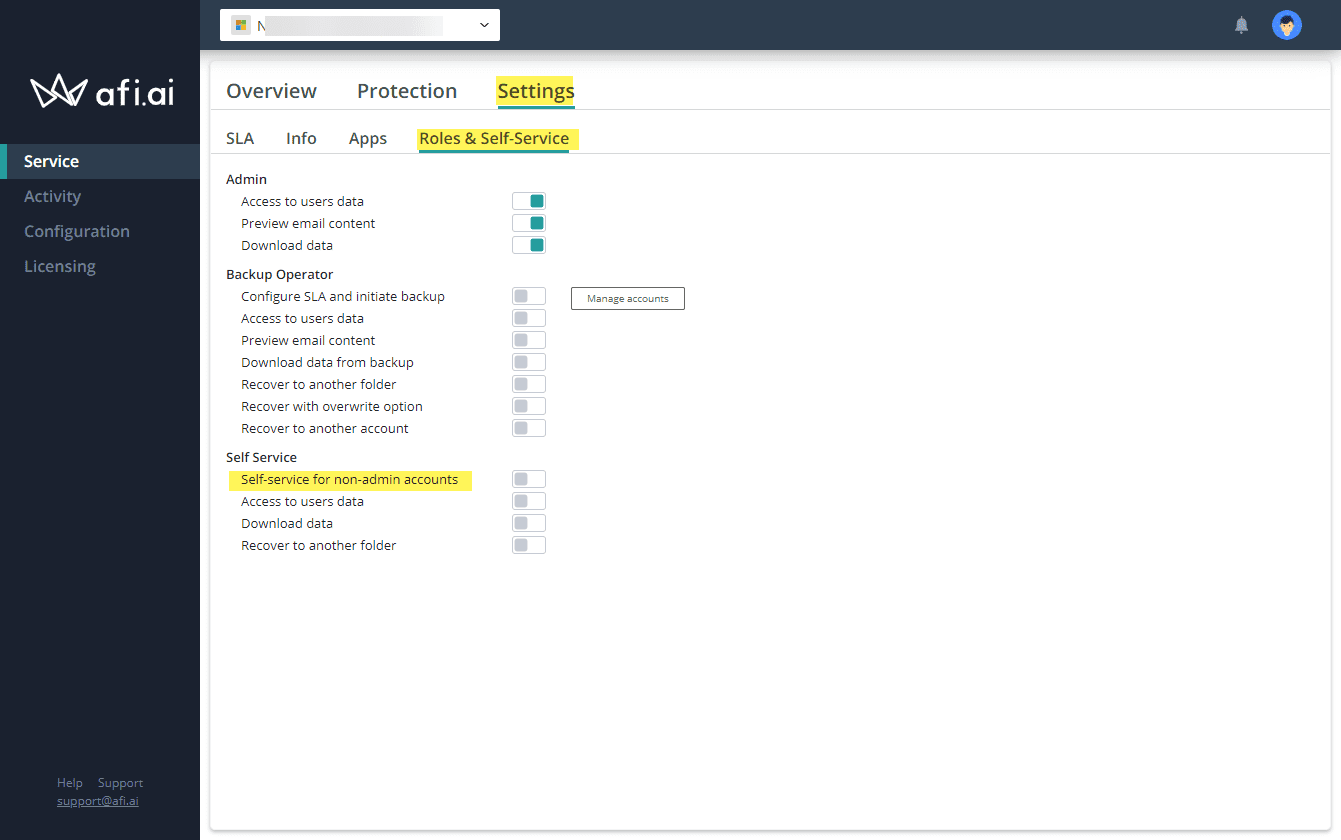 Afi.ai roles and settings and self service settings