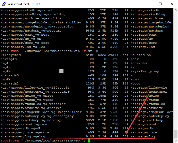 After performing cleanup on the log files on the storage log partition