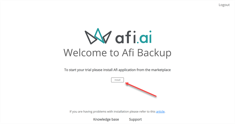 Choosing to install the afi solution