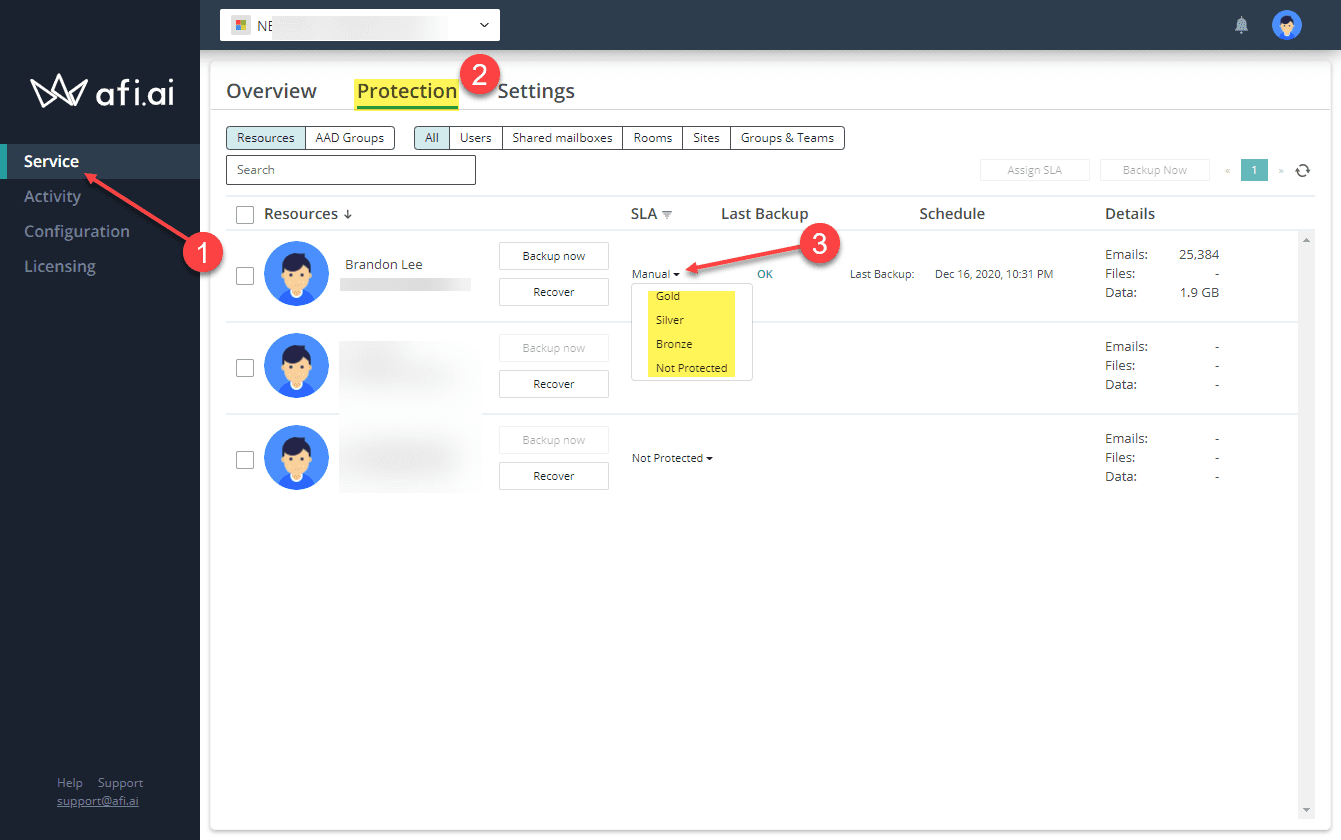 Configuring the backups for a user in afi.ai