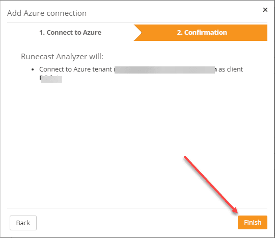 Confirming the connection to microsoft azure in runecast analyzer 5.0
