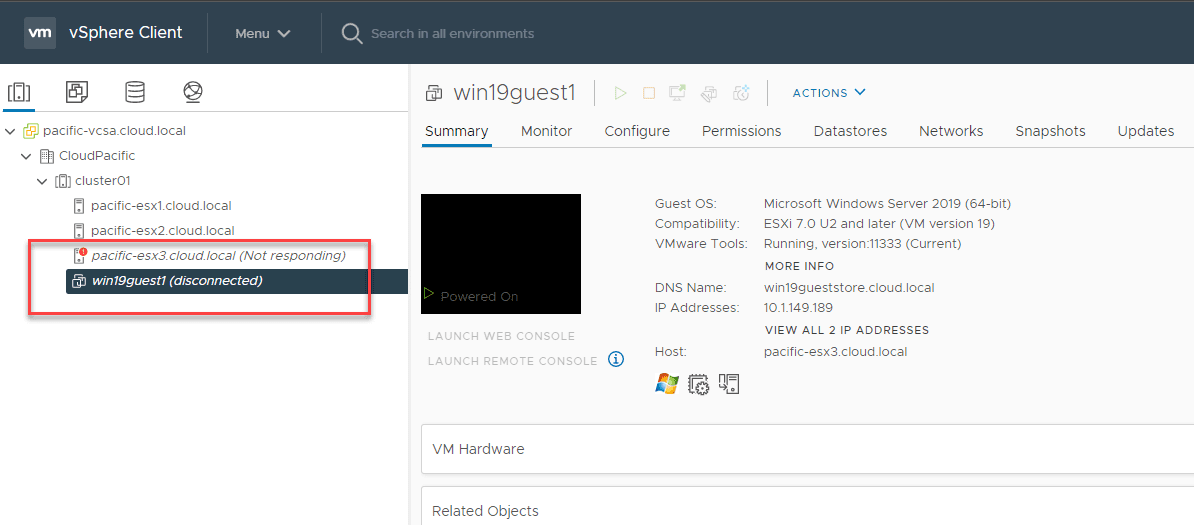 Esxi host and vm show to be disconnected for a few moments