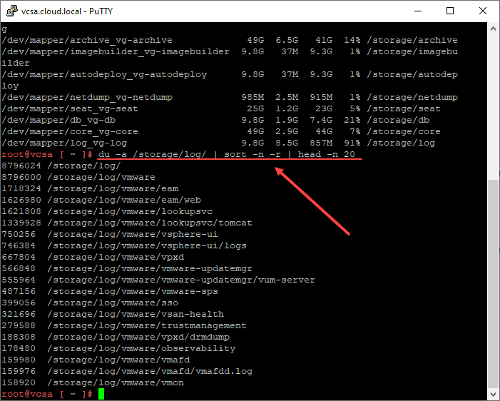 Finding the largest directories in the storage log partition