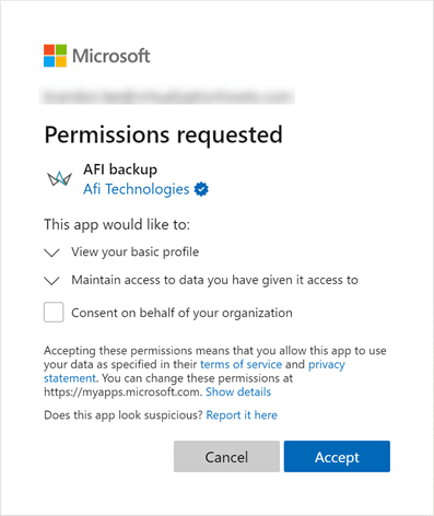 Granting permissions required for afi backup in microsoft office 365