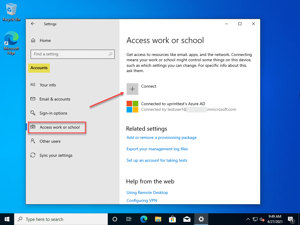 Join windows 10 to azure ad after setup