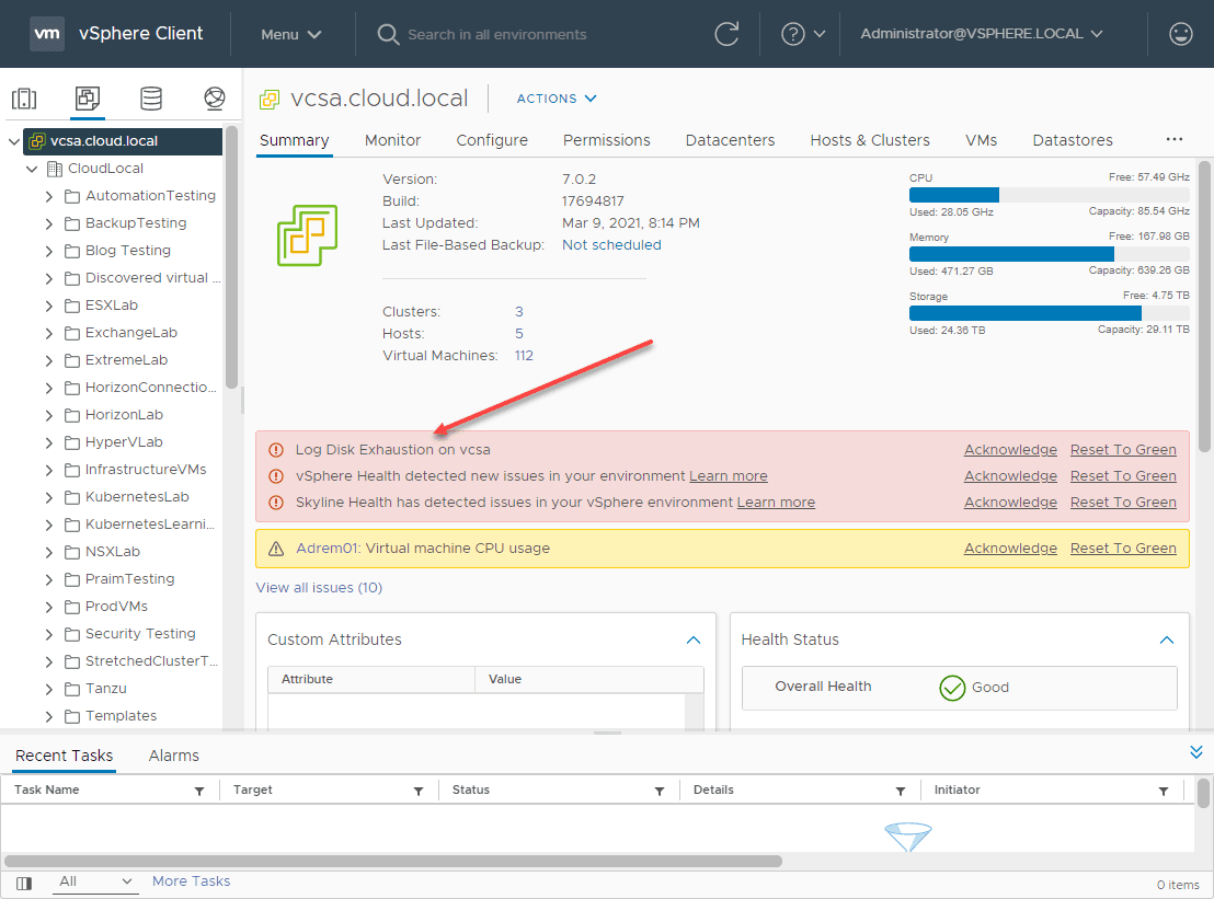 Log disk exhaustion on vcsa error message