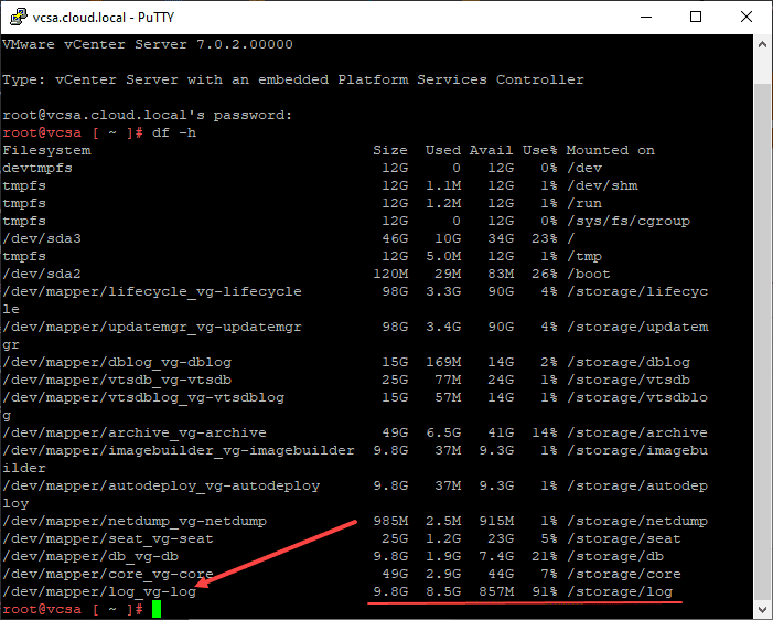 Looking at storage space used on the vcsa appliance